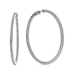 Diamond Glamour™ Diamond- and Crystal-Accent Sterling Silver Inside-Out 45mm Hoop Earrings
