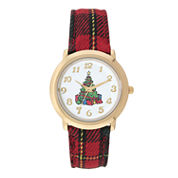 Mixit™ Womens Christmas Tree Plaid Watch