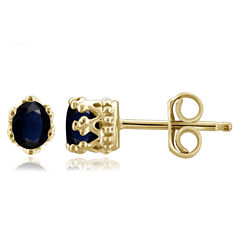 Oval Blue Sapphire 14K Gold Over Silver Stud Earrings