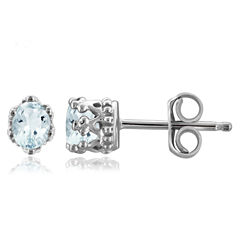 Oval Blue Aquamarine Sterling Silver Stud Earrings