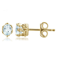 Oval Blue Aquamarine 14K Gold Over Silver Stud Earrings