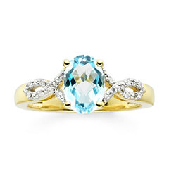Genuine Blue Topaz and Diamond-Accent 10K Yellow Gold Over Sterling Silver Ring