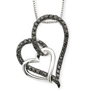 1/10 CT. T.W. Color-Enhanced Black Diamond Double Heart Pendant Necklace