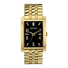 Caravelle New York® Mens Black Rectangle Dial & Gold-Tone Bracelet Watch 44A103