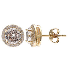 Gold Reflection Cubic Zirconia Gold Over Brass Stud Earrings