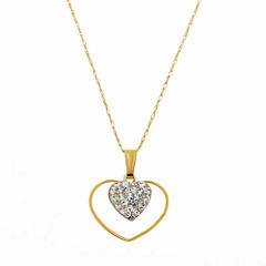 Limited Quantities! Womens White Crystal 14K Gold Pendant Necklace