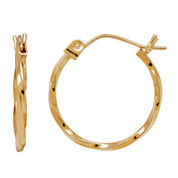 LIMITED QUANTITIES! 14K Yellow Gold 15mm Twist Hoop Earrings