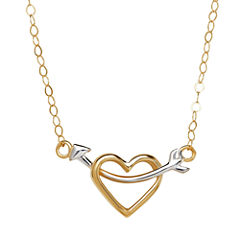 Teeny Tiny® 10K Two-Tone Gold Double-Sided Heart with Arrow Necklace