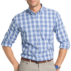 IZOD Advantage Preformance Stretch Long Sleeve Plaid Button Front Shirt