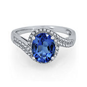 Genuine Blue Topaz and Lab-Created White Sapphire Curve Ring