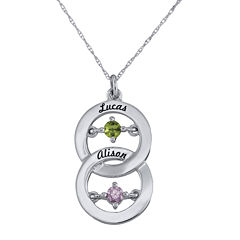 Personalized Dancing Birthstone Circle Pendant Necklace