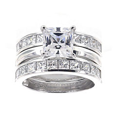 DiamonArt® Cubic Zirconia Sterling Silver Princess-Cut Bridal Ring and Guard Set