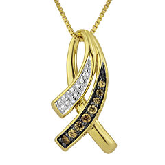 1/10 CT. T.W. White and Champagne Diamond Double-Row Pendant Necklace