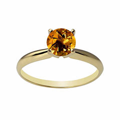 Womens Yellow Citrine 14K Gold Solitaire Ring