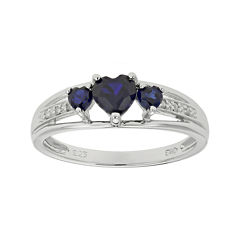 lab created sapphire heart shaped 3 stone sterling silver ring - Jcpenney Mens Wedding Rings