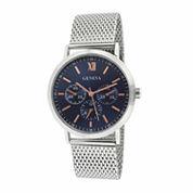 Geneva Mens Silver-Tone Mesh Bracelet Watch