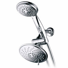 HotelSpa® 30-Setting Ultra-Luxury 3 way RainfallShower Combo with Patented ON/OFF Pause Switch and5-ft. to7-ft. Stretchable Stainless Steel Hose /Premium Chrome