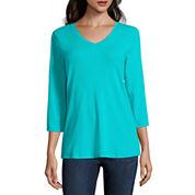 St. John`s Bay 3/4 Sleeve V Neck T-Shirt