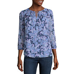 St. John's Bay 3/4 Sleeve Paisley Peasant Top