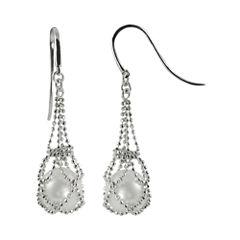 Cultured Freshwater Pearl Chain Drop Earrings