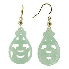 14K Yellow Gold Jade Drop Earrings
