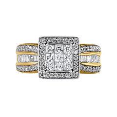 10K Yellow Gold 1 CT. T.W. Diamond Princess-Style Engagement Ring