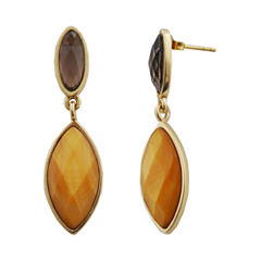 Art Smith by BARSE Smoky Quartz & Caramel-Color Mother-Of-Pearl Earrings