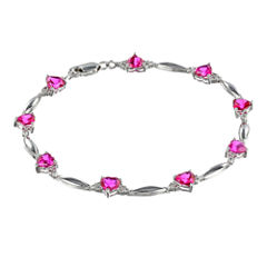 Lab-Created Pink Sapphire Heart-Shaped Sterling Silver Bracelet