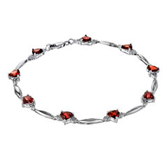 Genuine Garnet Heart-Shaped Sterling Silver Bracelet