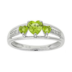 Genuine Peridot & Diamond-Accent Heart-Shaped 3-Stone Sterling Silver Ring
