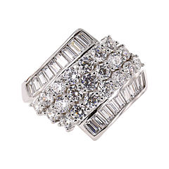 DiamonArt® Cubic Zirconia Sterling Silver Cluster Ring