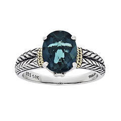 Shey Couture Genuine London Blue Topaz Sterling Silver Oval Ring