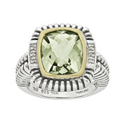 Shey Couture Genuine Green Quartz and Diamond-Accent Sterling Silver Ring