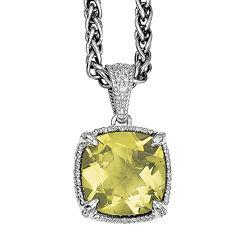 Shey Couture Genuine Lemon Quartz and Diamond-Accent Sterling Silver Pendant Necklace