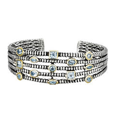 Shey Couture Genuine Swiss Blue Topaz Sterling Silver Cuff Bracelet