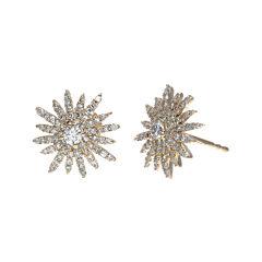 3/4 CT. T.W. Diamond 14K Rose Gold Starburst Stud Earrings