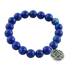 Art Smith by BARSE Dark Blue Howlite Silver Over Brass Stretch Bead Bracelet