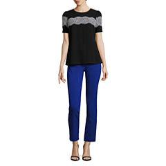 Worthington Short Sleeve Lace Trim Blouse and Slim Fit Ankle Pants