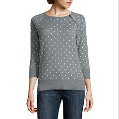 Liz Claiborne 3/4 Sleeve Crew Neck Pullover Sweater-Petites