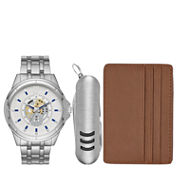 Fashion Watches Mens Silver-Tone Watch Boxed Set