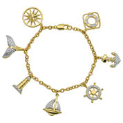 Sparkle Allure Womens White Diamond Accent Gold Over Brass Charm Bracelet