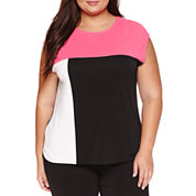Plus size tops for women jcpenney for Liz claiborne v neck t shirts