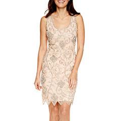 MSK Sleeveless Floral Beaded Sheath Dress - Petite