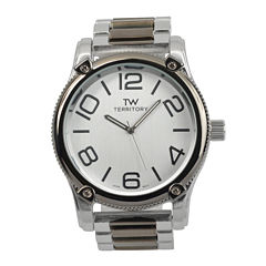 Territory Mens Textured Bezel Stainless Steel Watch