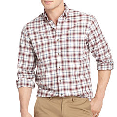 IZOD Long-Sleeve Plaid Oxford Sport Shirt