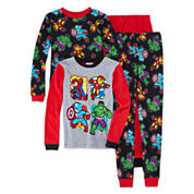 Boys 4-pc. Long Sleeve DC Comics Kids Pajama Set-Big Kid