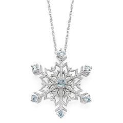 Color-Enhanced Swiss Blue Topaz Snowflake Pendant Necklace
