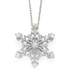 Lab-Created Opal Snowflake Pendant Necklace