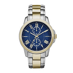 Geneva Mens Black Dial Two-Tone Bracelet Watch
