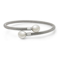 Sterling Silver Cultured Freshwater Pearl Flex Bangle